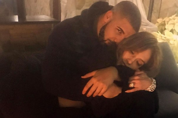 https://www.instagram.com/p/BOjX-u4D_en/?taken-by=champagnepapi Drake and Jennifer Lopez cuddle up on Drake's instagram page Source: Drake Instagram